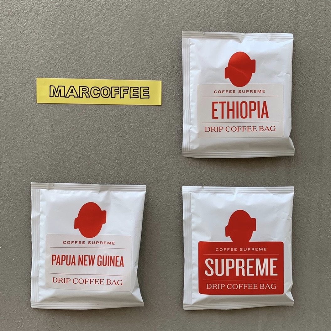 "coffee supreme Japan   ""Drip pack""   3peace + 1sticker"