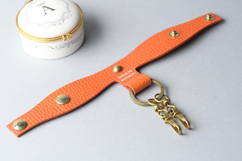Tストラップキーホルダー □真鍮生地・オレンジ□ T STRAP KEY HOLDER イタリアンレザー - 画像2