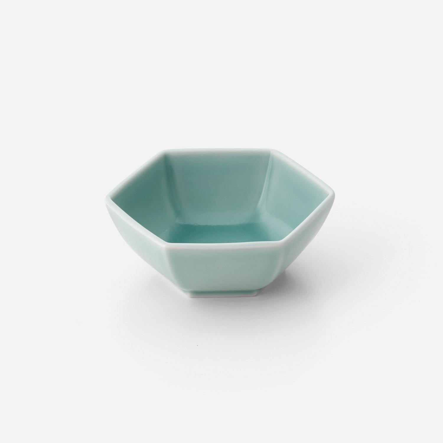 青磁六角 深鉢