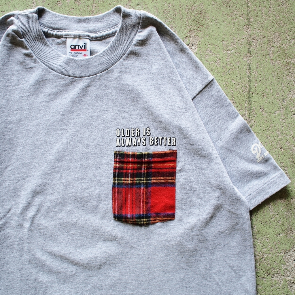 "【LOST AND FOUND】""Bean Check"" Remake Pocket T-shirt (Heather Grey)"