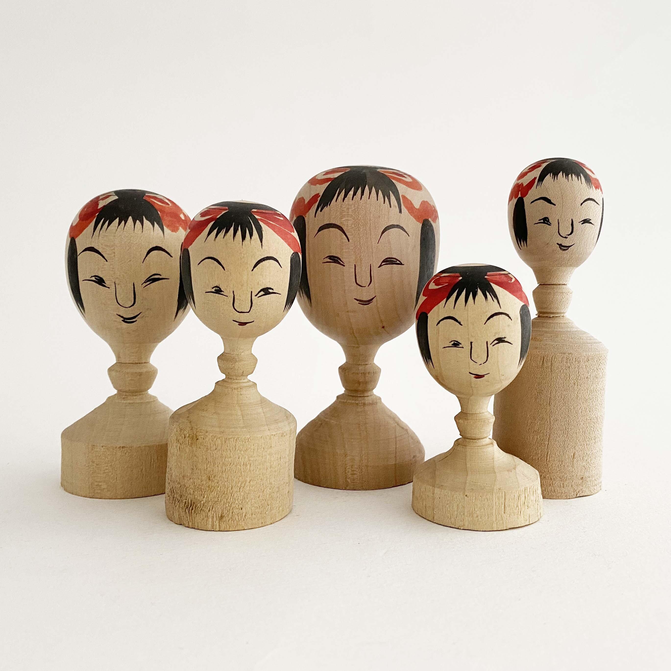 こけし木地玩具「首人形」(竹石秀徳工人作)