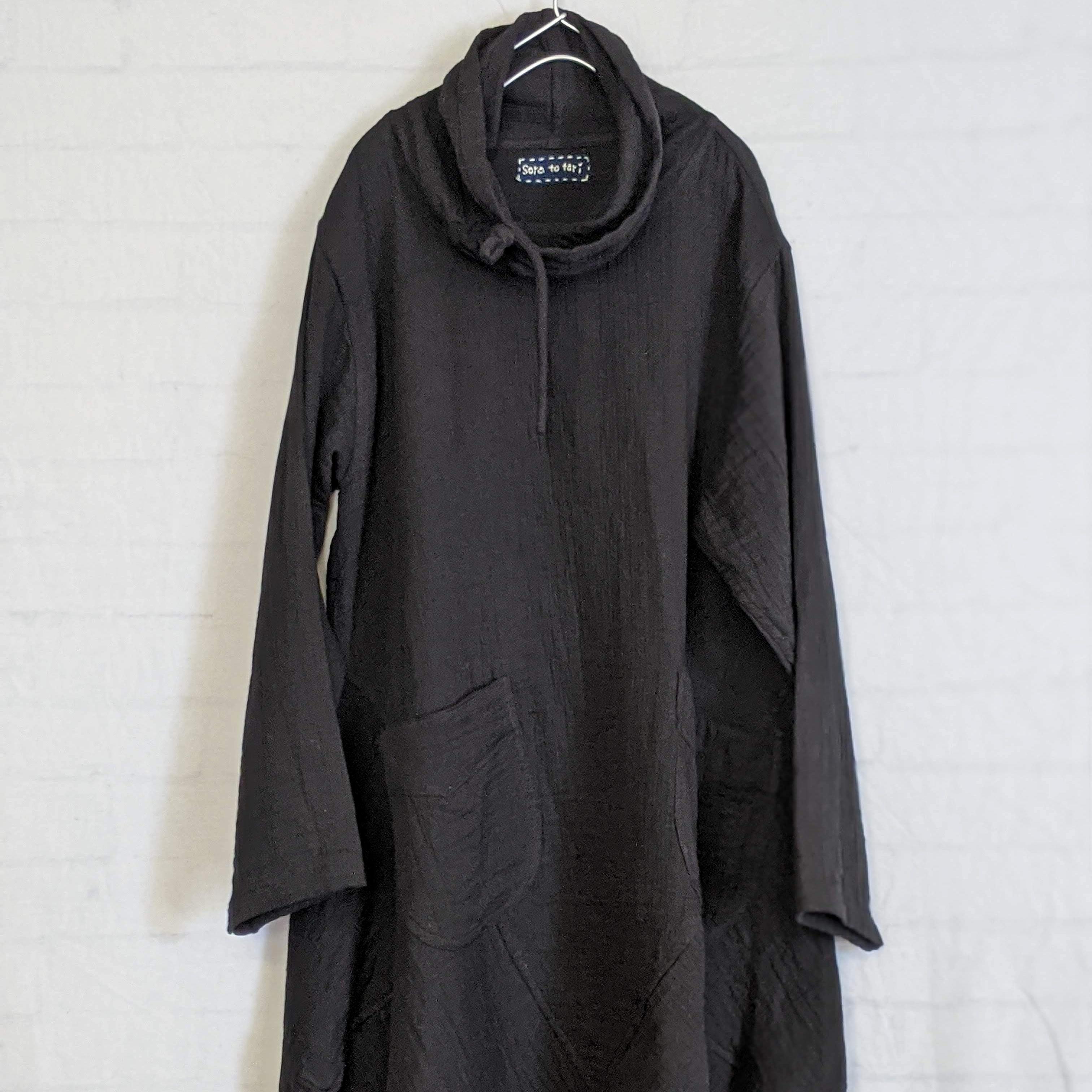 チェンマイ 変形長袖プルオーバーチュニック ブラック
