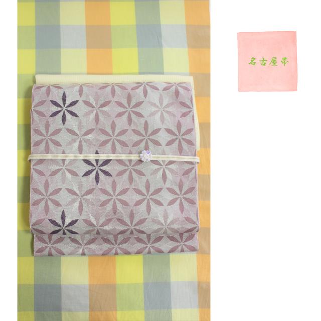 名古屋帯 六枚花びら灰桜色