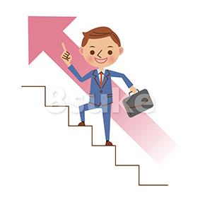 イラスト素材:階段を登るビジネスマン(ベクター・JPG)