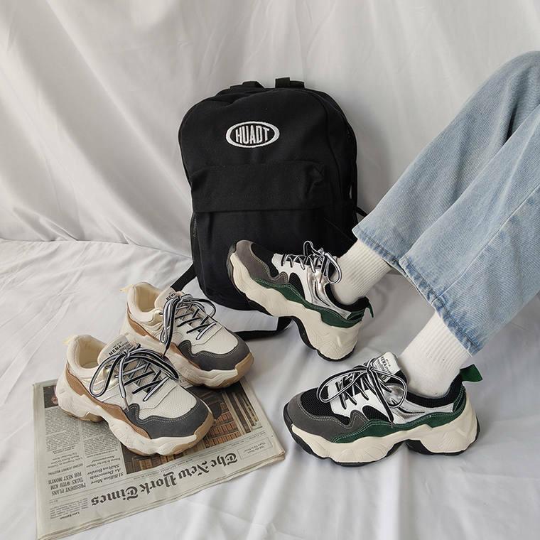 【送料無料】 トレンドライクな足元♡ 厚底ソール ダッド シューズ スポーティー スニーカー 靴 スタイルアップ
