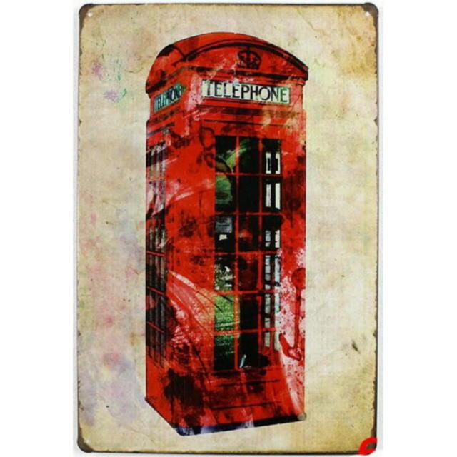 【ブリキ看板】赤いテレフォンボックス 小型版[C62513]