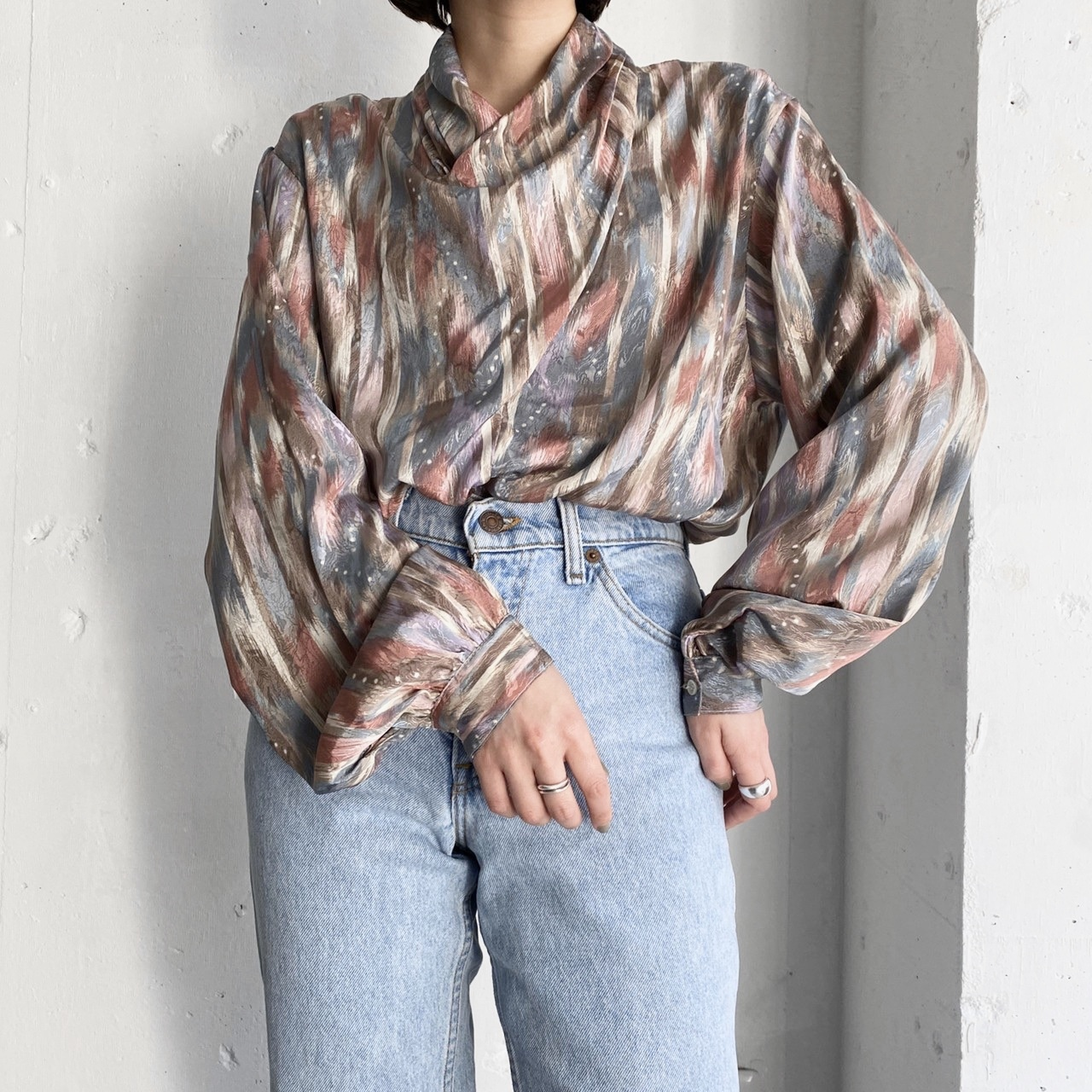 made in USA vintage polyester blouse.