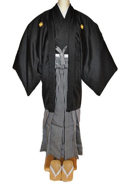 レンタル男性用black01【紋付袴】黒綸子着物に黒銀縞はかま - 画像2
