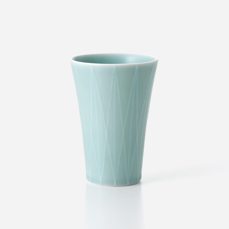 青磁光彩 フリーカップ(大)幾何学