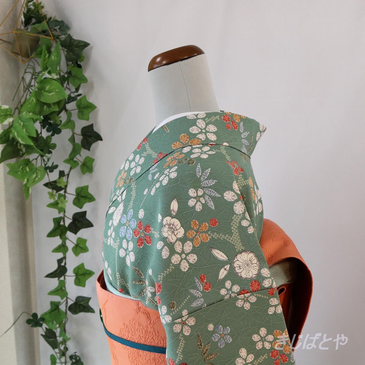 正絹綸子 灰緑に辻が花風の総柄小紋 袷