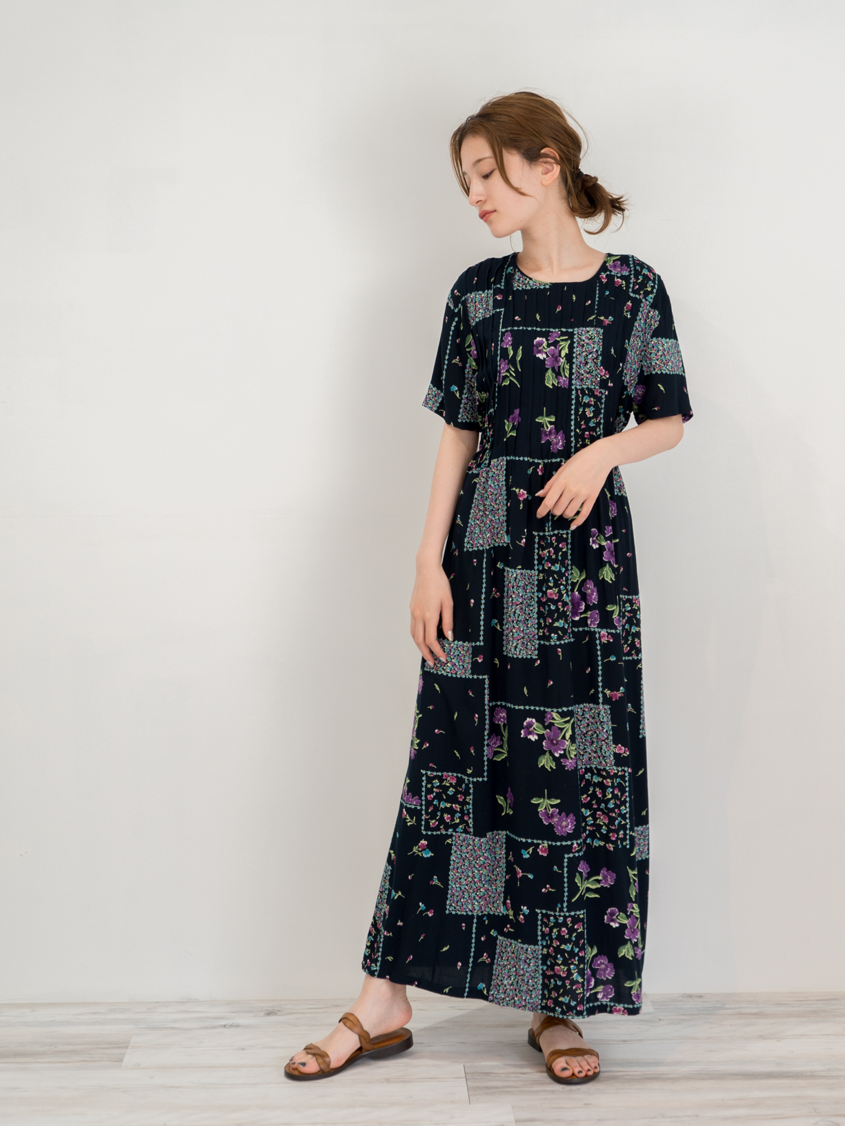 ◼︎90s floral patchwork print rayon maxi dress from U.S.A◼︎