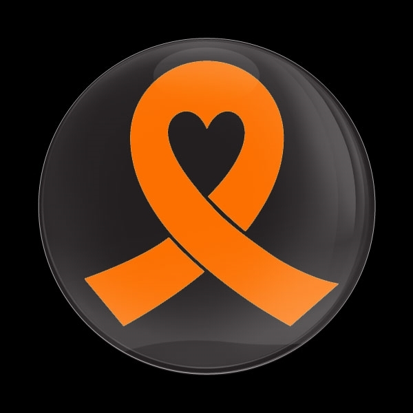 ドームバッジ(CD0984 - ORANGE RIBBON BLACK (LEUKEMIA)) - 画像1
