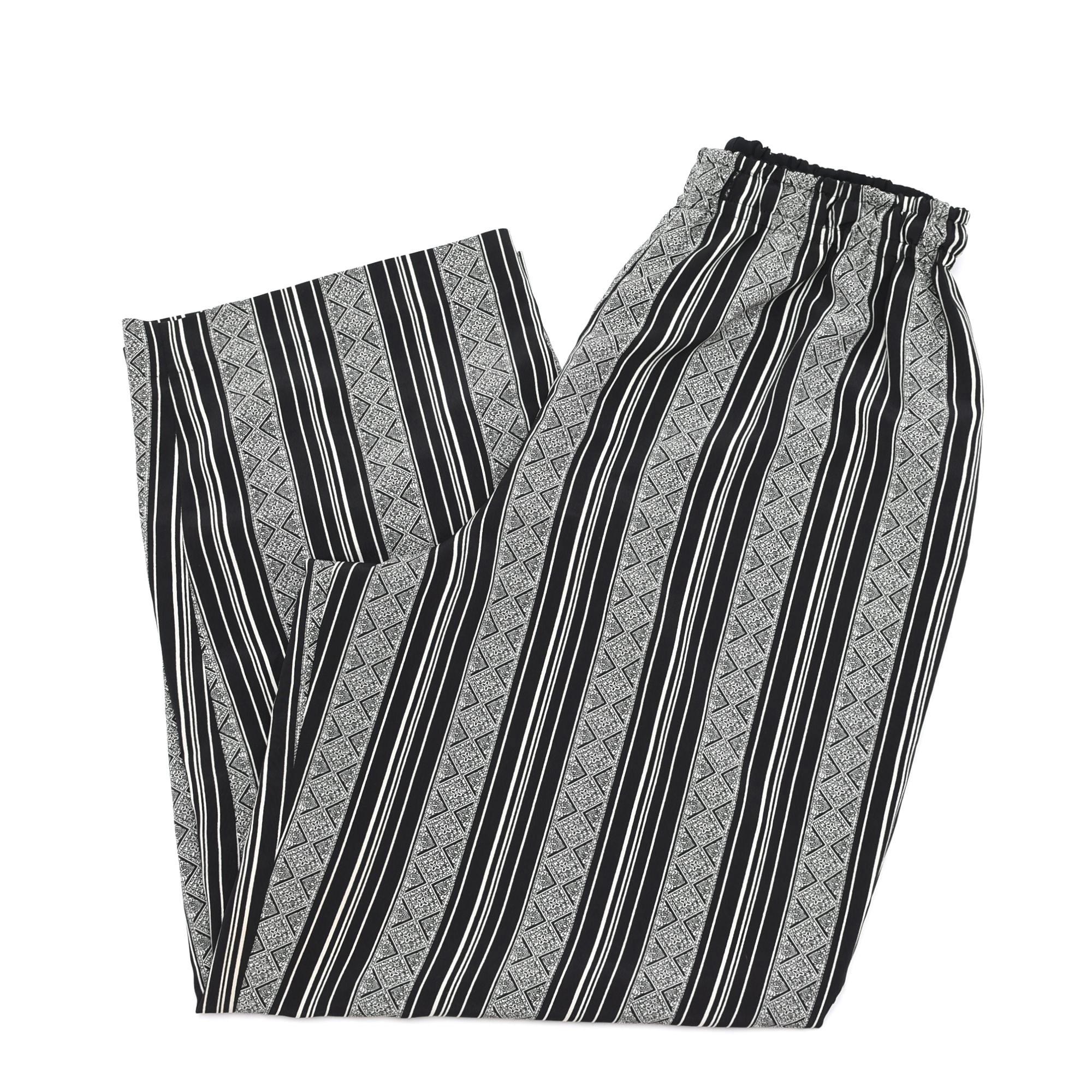 Damask pattern stripe georgette pants