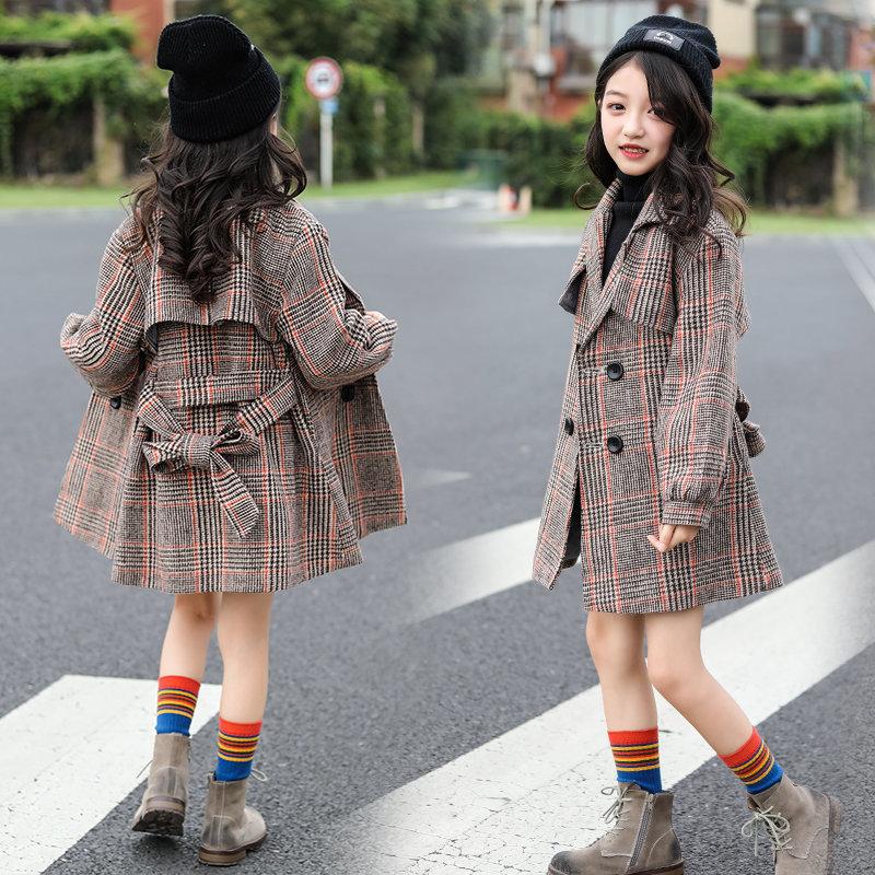 cd0634a8ca779  キッズ 暖かい チェック チェスター コート  ボリューム袖 韓国子供服 ベージュ コート 防寒 上