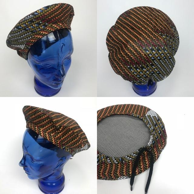 アフリカンプリントベレー帽 09