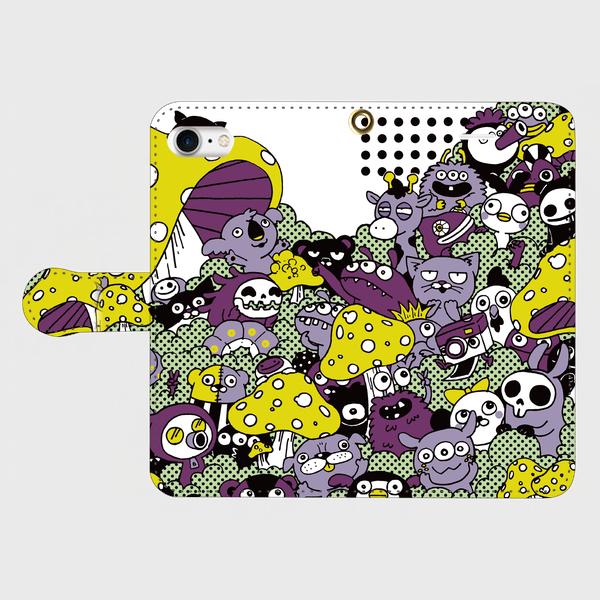 Eqwidg 02 Iphone7手帳型スマホケース モンスター おばけ キノコ