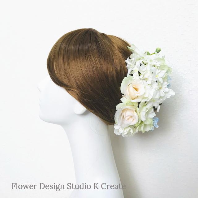 デルフィニュウムと薔薇のヘッドドレス(Uピン 13 本セット) 結婚式 ウェディング