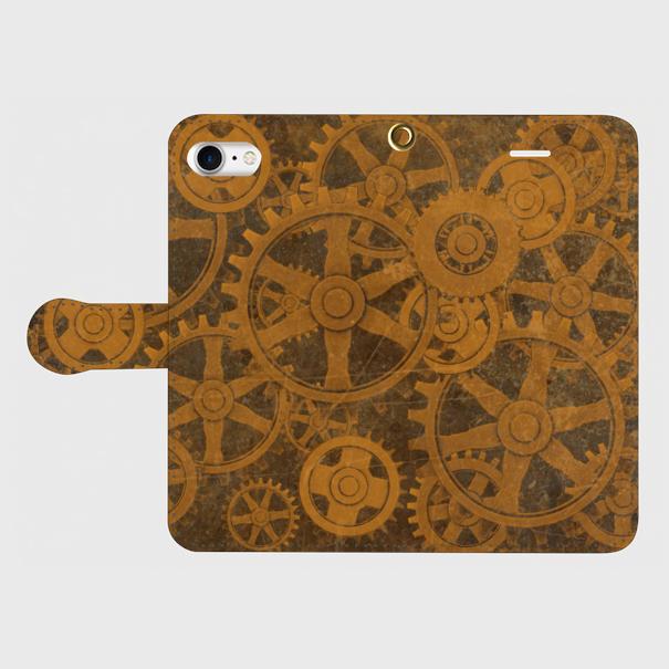 歯車スチームパンク(茶)/iPhoneスマホケース(手帳型ケース)
