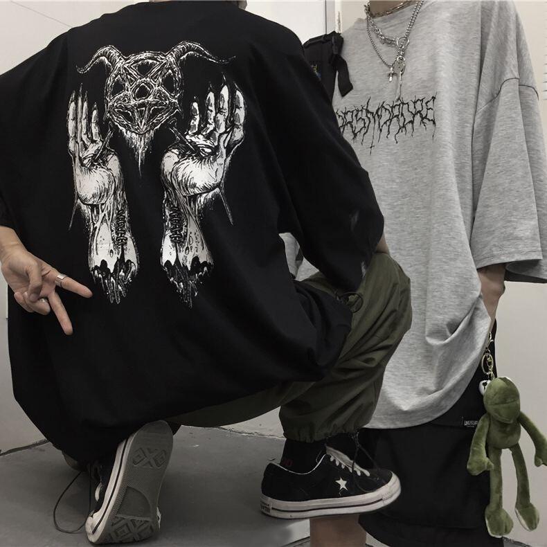 ユニセックス Tシャツ 半袖 メンズ レディース ダークホラー プリント オーバーサイズ 大きいサイズ ルーズ ストリート
