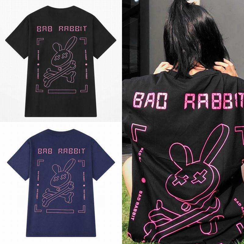 ユニセックス Tシャツ 半袖 メンズ レディース 「BAD RABBIT」 うさぎ ラビット プリント オーバーサイズ 大きいサイズ ルーズ ストリート