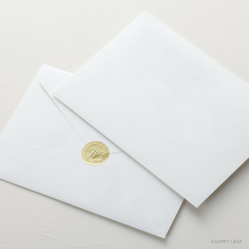 コットン封筒 ホワイト(洋1)& エンボスシール/10枚セット