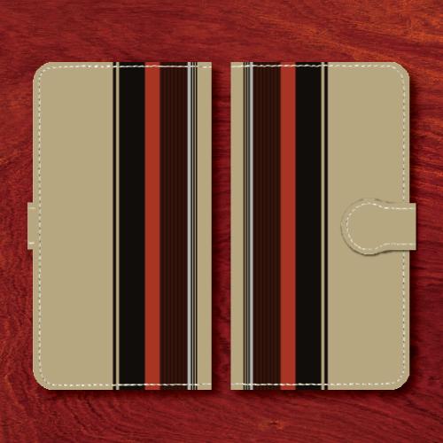 レトロストライプ/昭和レトロ/レトロ家具調/砂色・灰系色/Androidスマホケース(手帳型ケース)