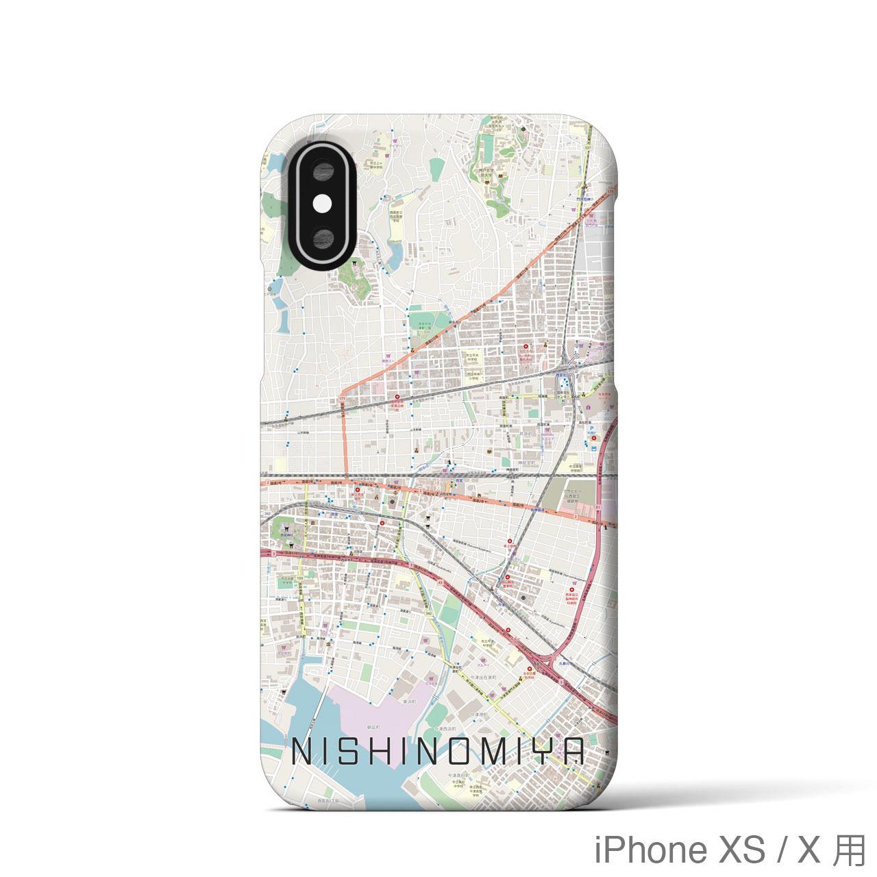 【西宮】地図柄iPhoneケース(バックカバータイプ・ナチュラル)
