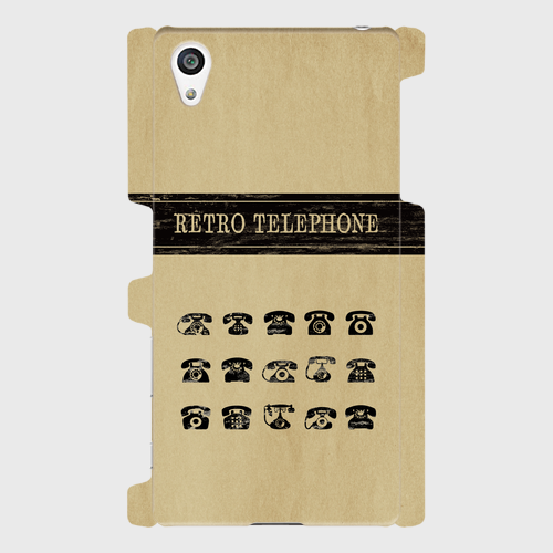 レトロ柄(電話)/ Androidスマホケース(ハードケース)