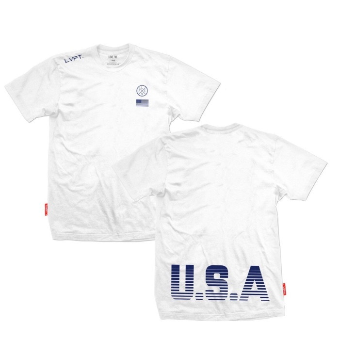 LIVE FIT USA Tee- White