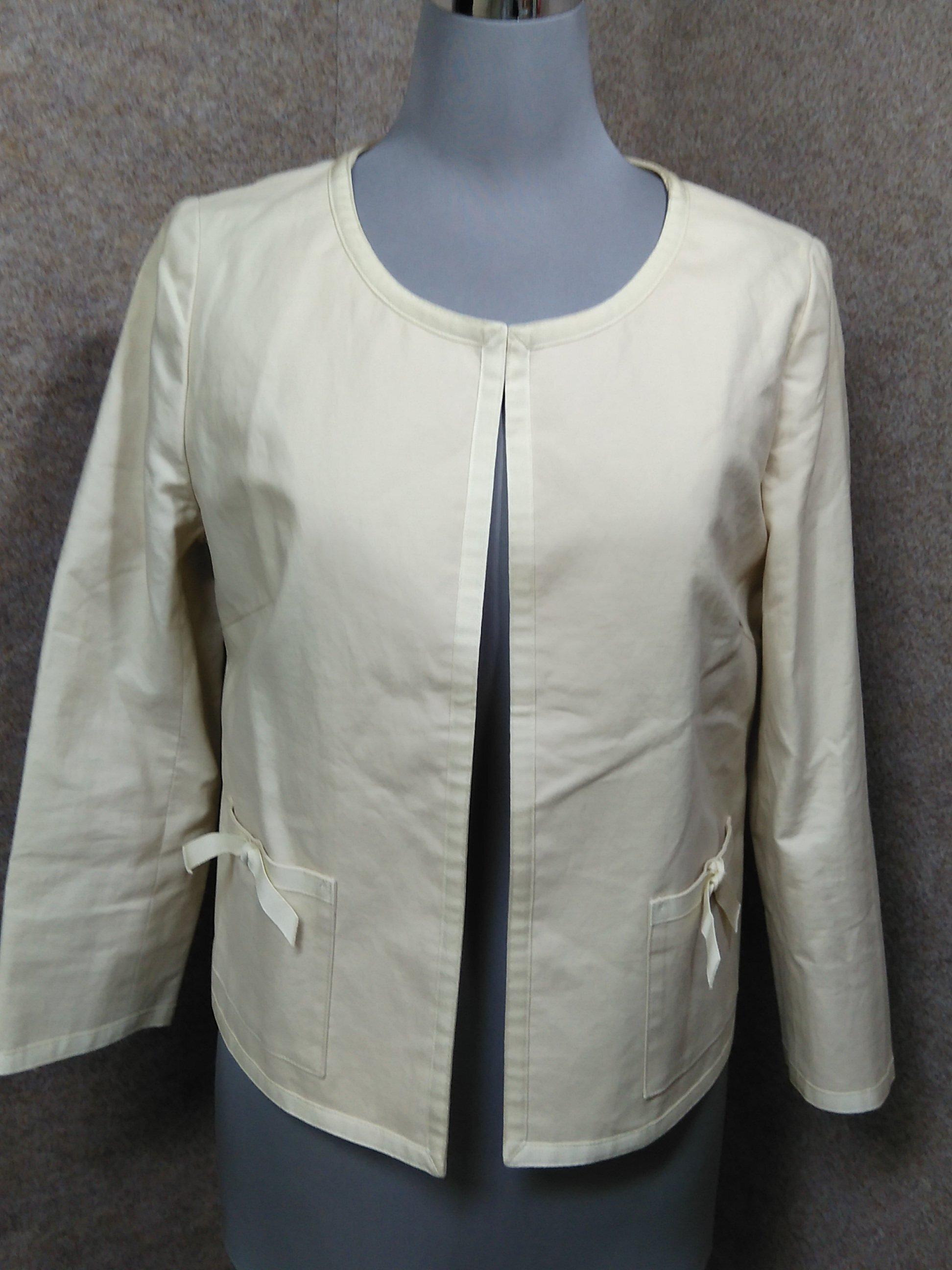 イエナ IENA 綿/麻 ノーカラージャケット オフホワイト u1285a