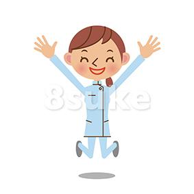 イラスト素材:バンザイして喜ぶ介護士の女性(ベクター・JPG)