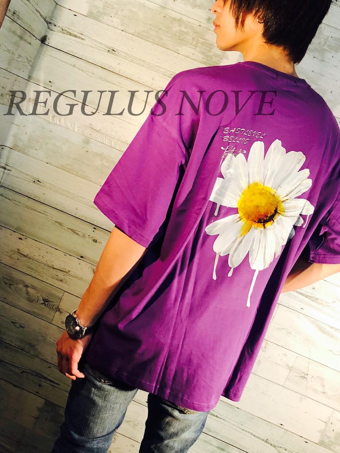 【メール便対応】 REGULUS NOVE DAISYプリントメッセージBIGTシャツ PURPLE ユニセックス レディース メンズ オーバーサイズ 大きいサイズ 派手 韓国 プリント 個性的 ストリート ロック