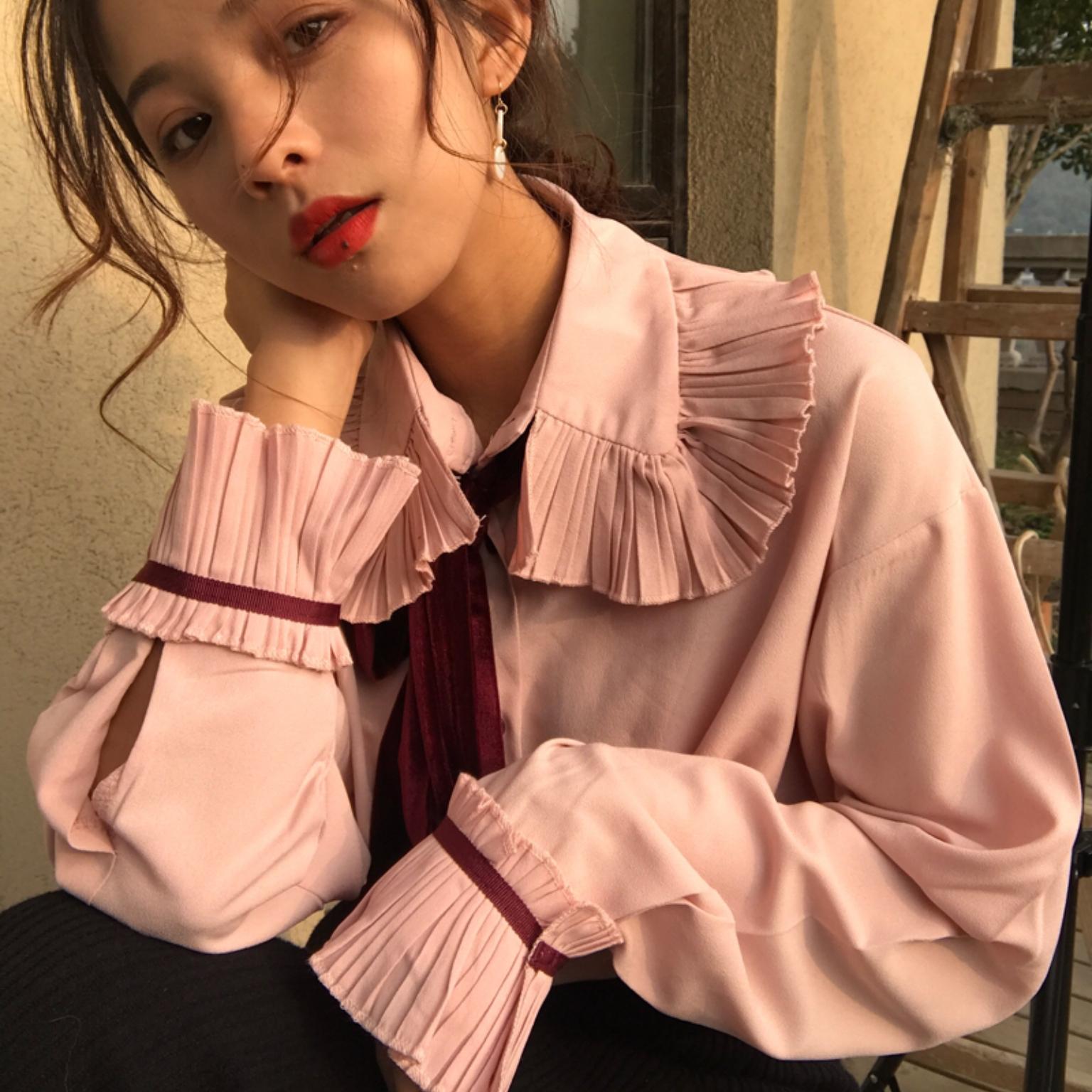 【送料無料】リボン付き♡ かわいい フリル ブラウス ピンク