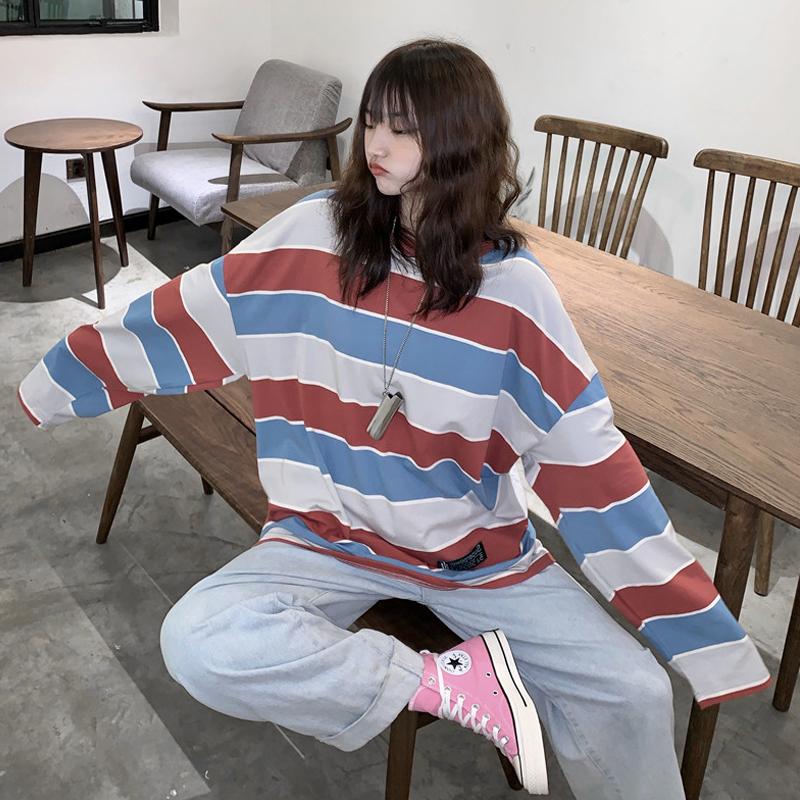 【送料無料】メンズライクコーデに♡ ビッグシルエット くすみカラー マルチボーダー トップス ロンT