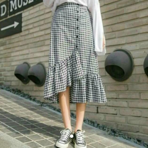 【送料無料】かわいいギンガムチェック♡ ロング スカート フレア マキシ