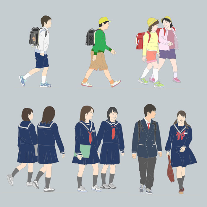小中学生イラストSketchUp素材 4u_001 - 画像2