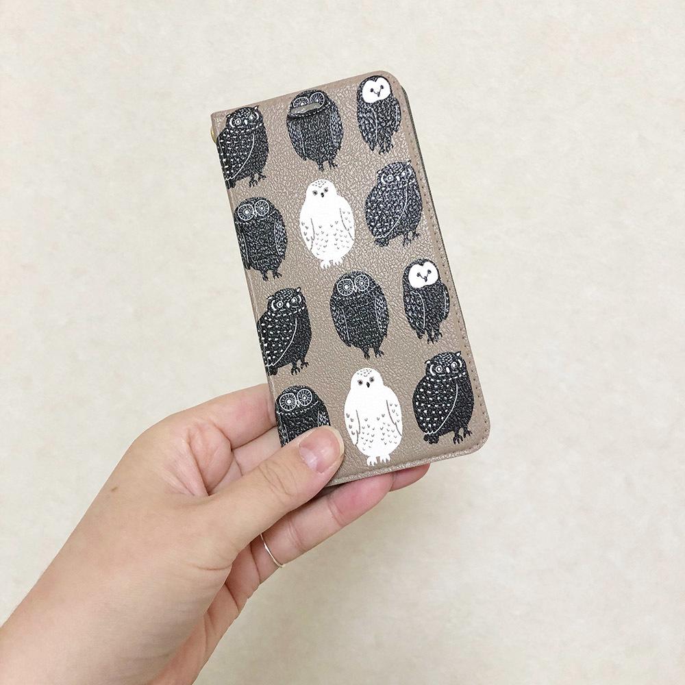 <受注制作> フクロウイラスト スマホケース iPhoneのみ対応