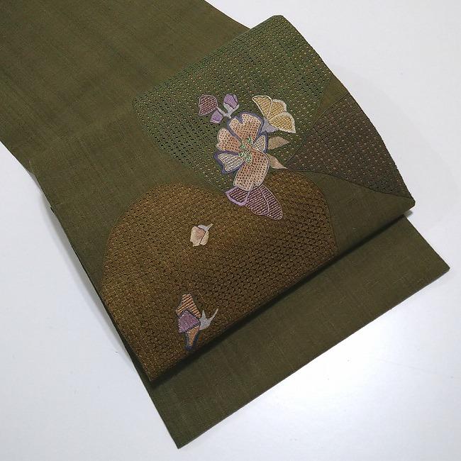 ★美品 洒落袋帯 紬 スワトウ刺繍 まっ茶色 ★ 縁ちゃぶ  c012