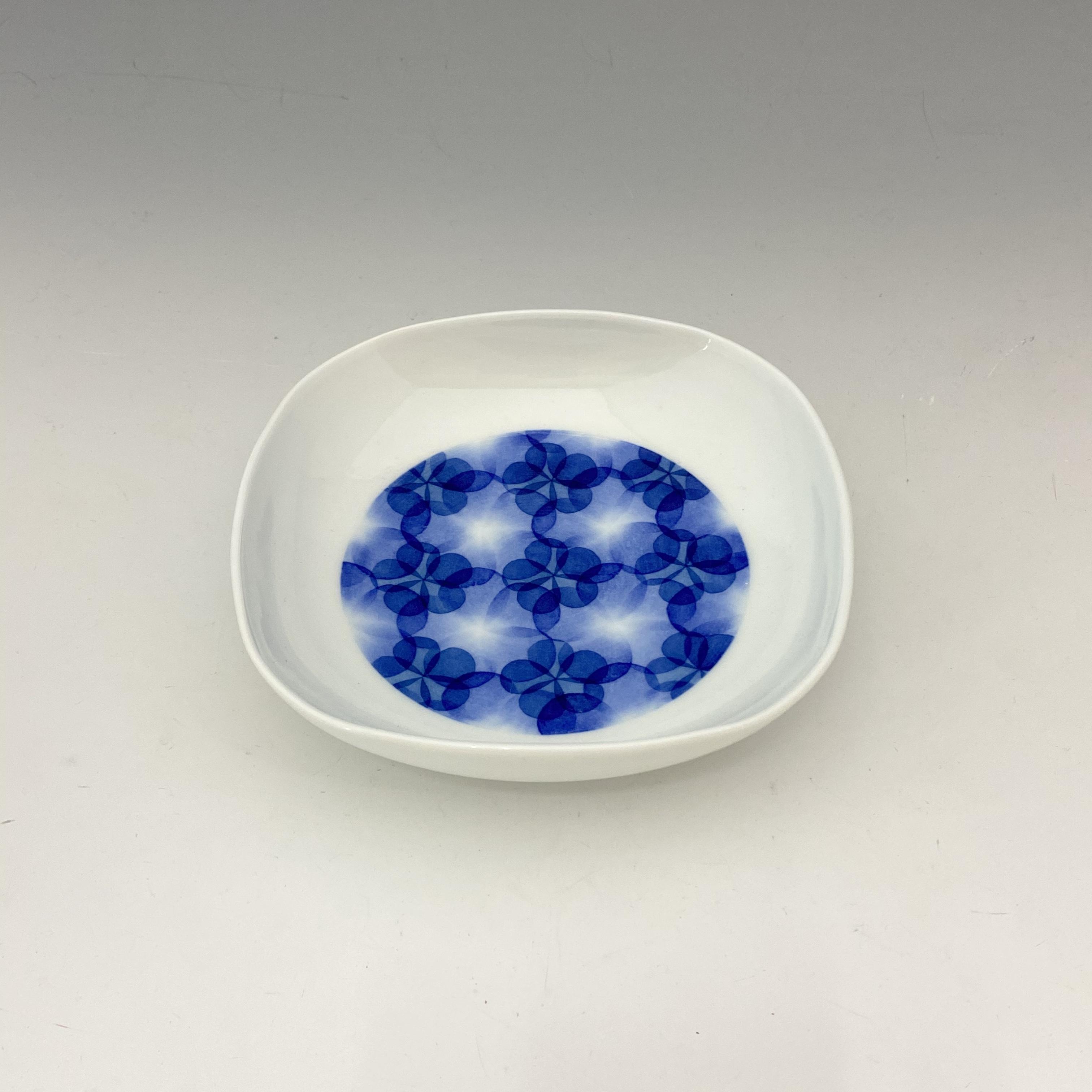 【中尾英純】和紙染ぼかし文角皿