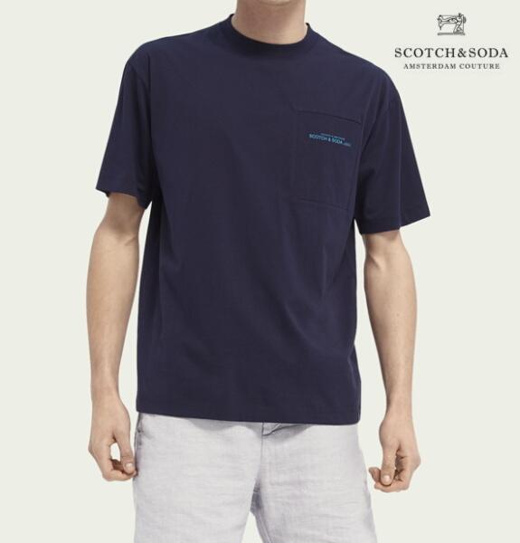 スコッチ&ソーダ SCOTCH&SODA 半袖 Tシャツ クルーネック リラックスフィット ポケット Tシャツ Night 292-34420