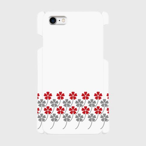 昭和デザイン花柄(赤・灰)/ iPhoneスマホケース(ハードケース)