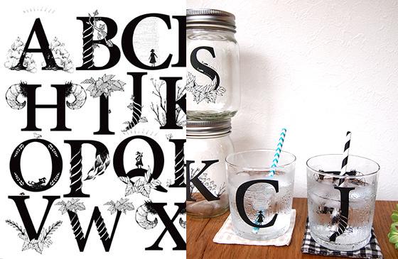 ガラス用 イニシャルアルファベット転写紙 A3サイズ(ポーセリンアート用転写紙)
