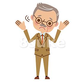 イラスト素材:困った表情で首を振る経営者・熟年のビジネスマン(ベクター・JPG) | 8sukeの人物イラスト屋:かわいいベクター素材のダウンロード販売