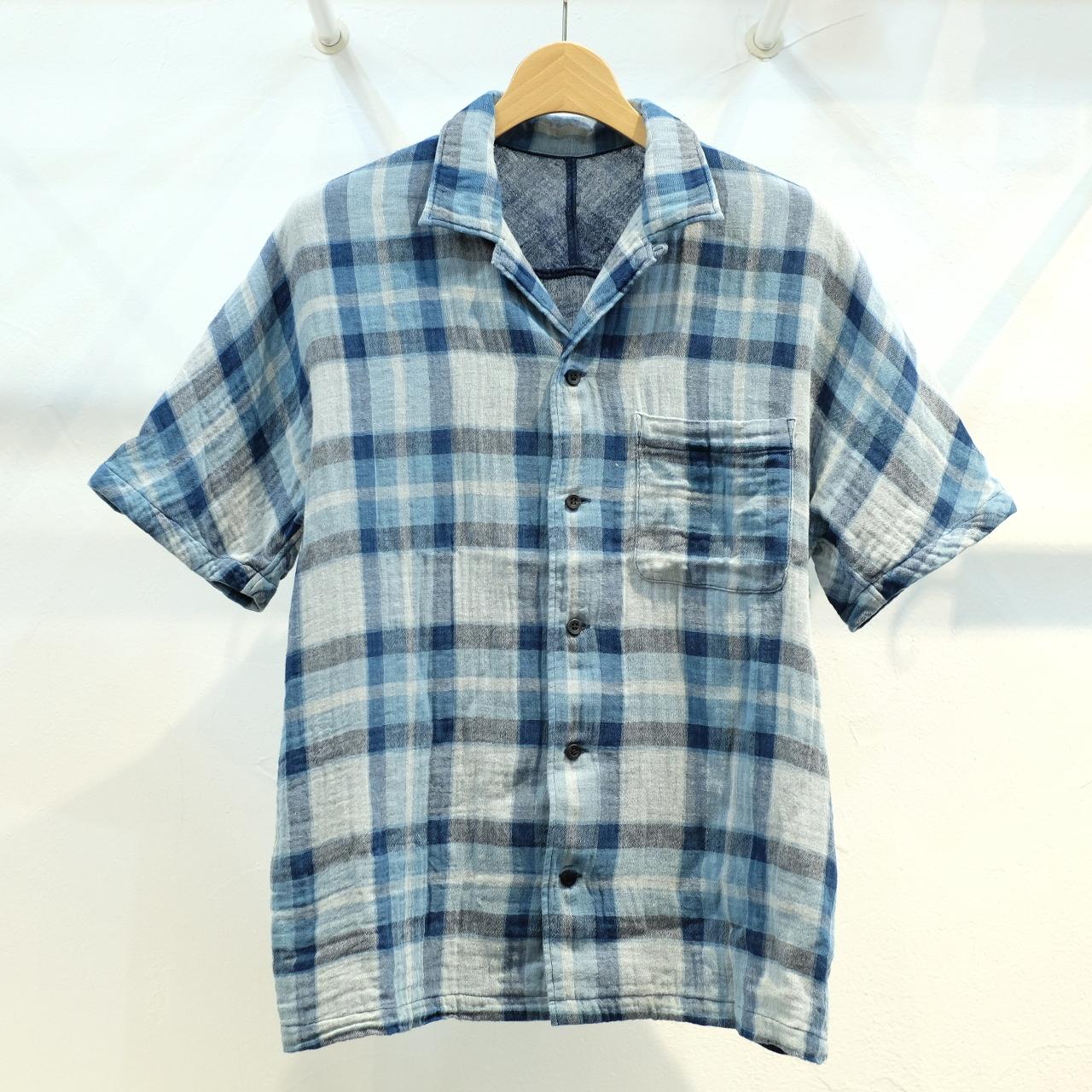 KUON(クオン) 藍染チェック・ダブルガーゼ オープンカラーシャツ(藍染アロハ)