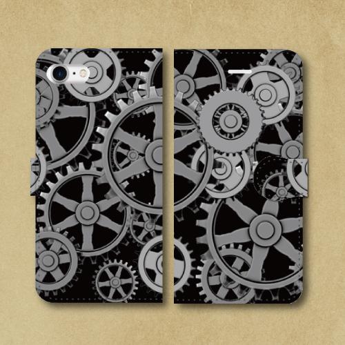 歯車スチームパンク(黒)/iPhoneスマホケース(手帳型ケース)