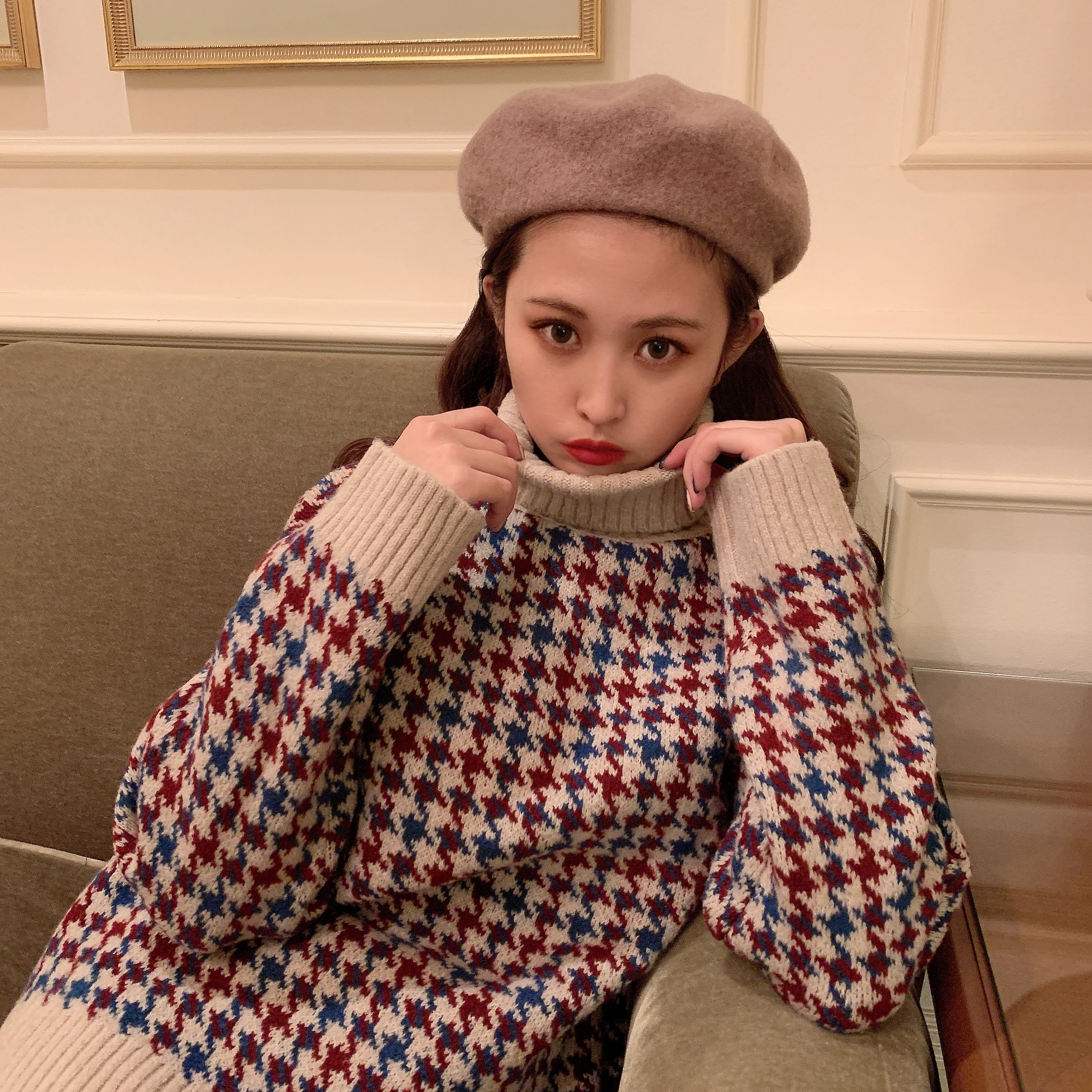 【予約】darling houndstooth knit
