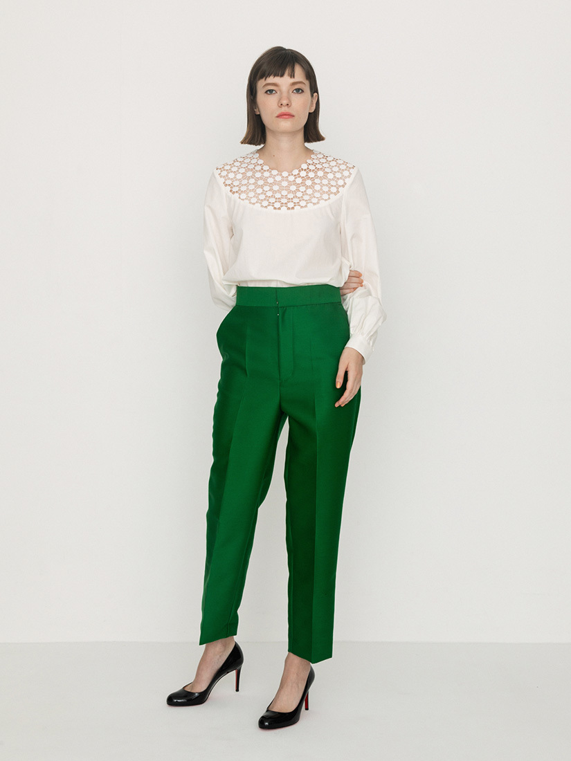 silk wool pants(green)