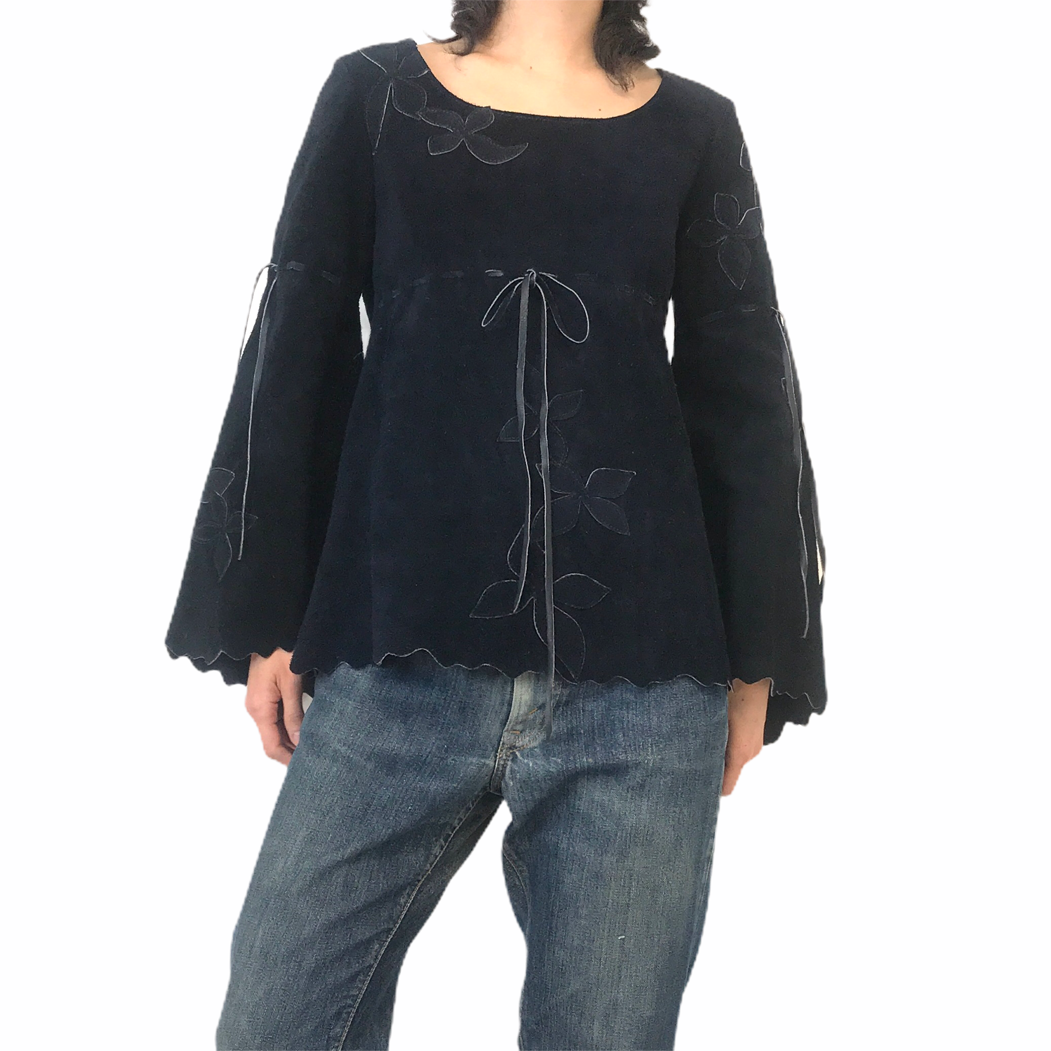 70's Vintage Navy Suede Handcrafted L/S Pullover