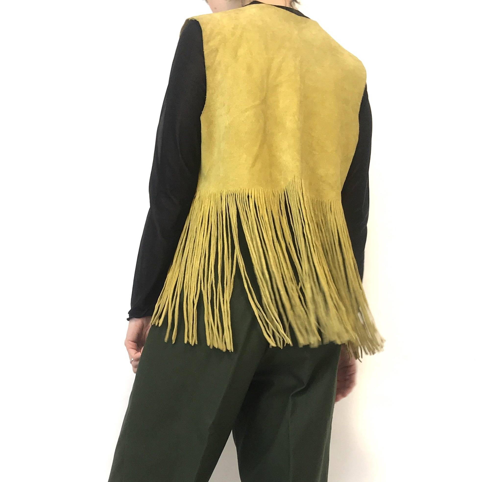70's Vintage Yellow Suede Handcrafted Vest