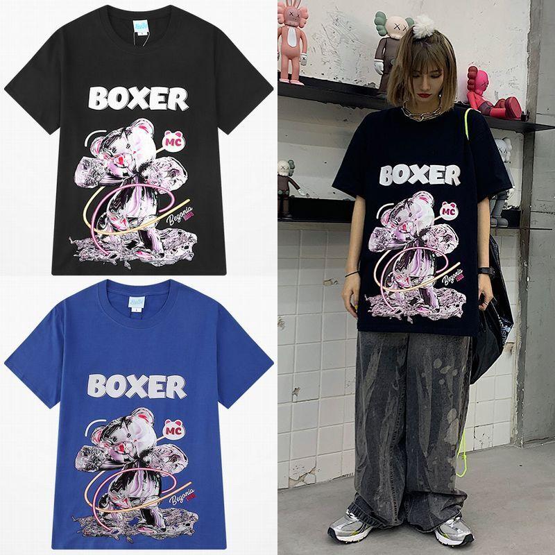 ユニセックス 半袖 Tシャツ メンズ レディース BOXER 水銀 クマちゃん ベアー プリント オーバーサイズ 大きいサイズ ルーズ ストリート